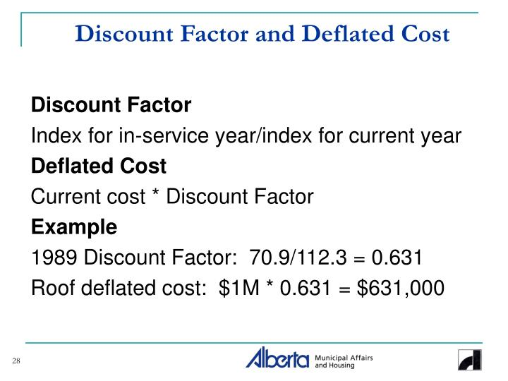 Discount Factor and Deflated Cost