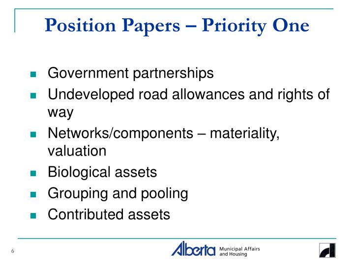 Position Papers – Priority One
