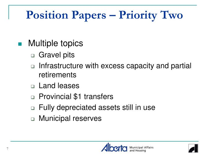 Position Papers – Priority Two