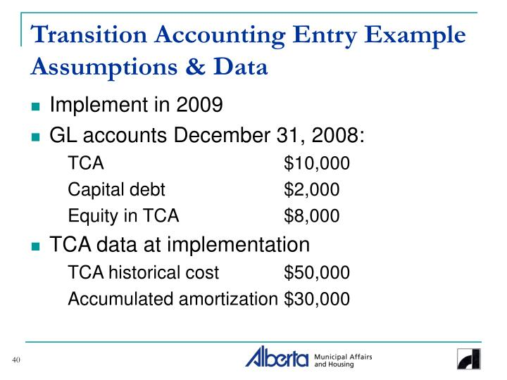 Transition Accounting Entry Example