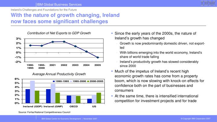 Ireland's Challenges and Foundations for the Future