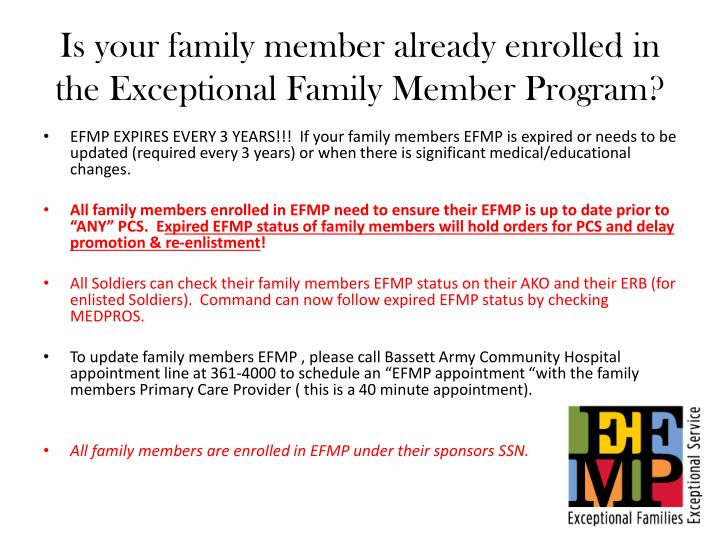 is your family member already enrolled in the exceptional family m ember program n.