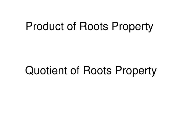 Product of Roots Property