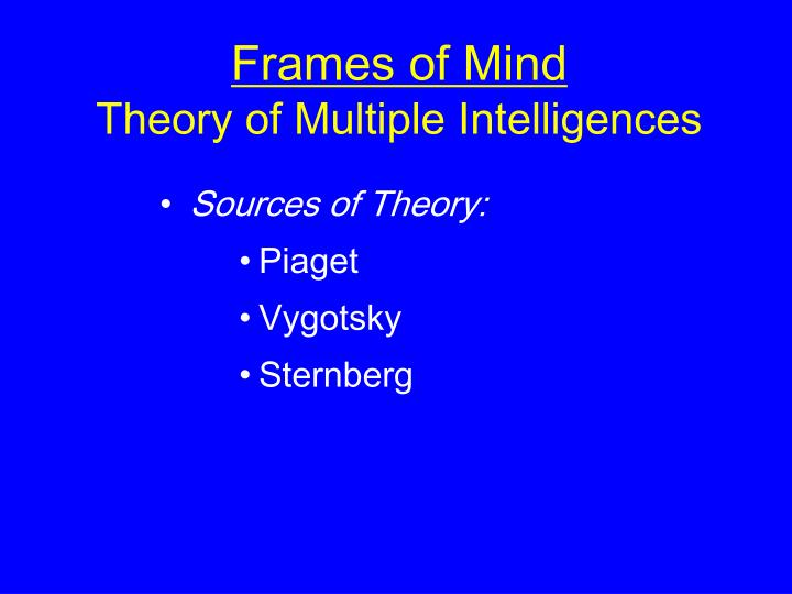 frames of mind the theory of multiple Gardner, howard (1983 1993) frames of mind: the theory of multiple intelligences, new york: basic books the second edition was published in britain by fontana press 466 + xxix pages the second edition was published in britain by fontana press 466 + xxix pages.