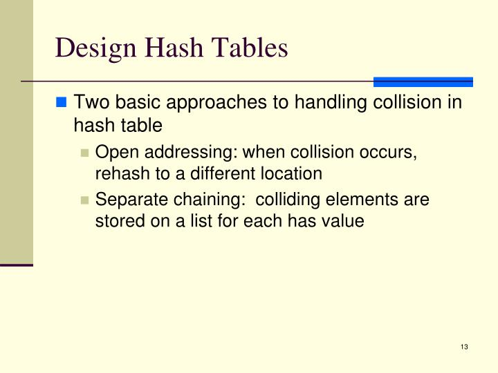 Design Hash Tables