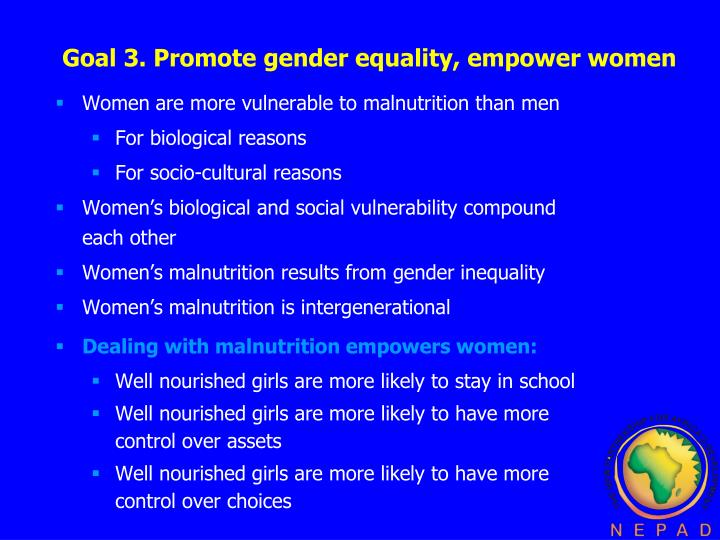 promoting gender equality and african womens Strategies for advancing gender equality through microfinance  opportunities and are perhaps the most effective means of promoting gender equality.