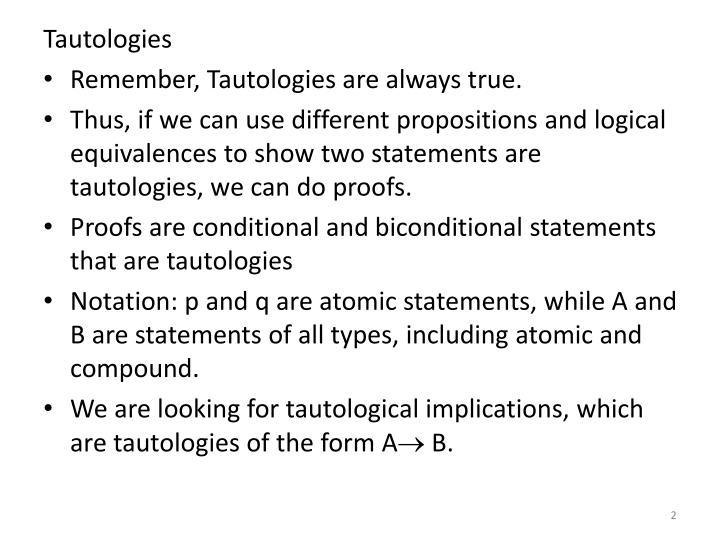 Tautologies