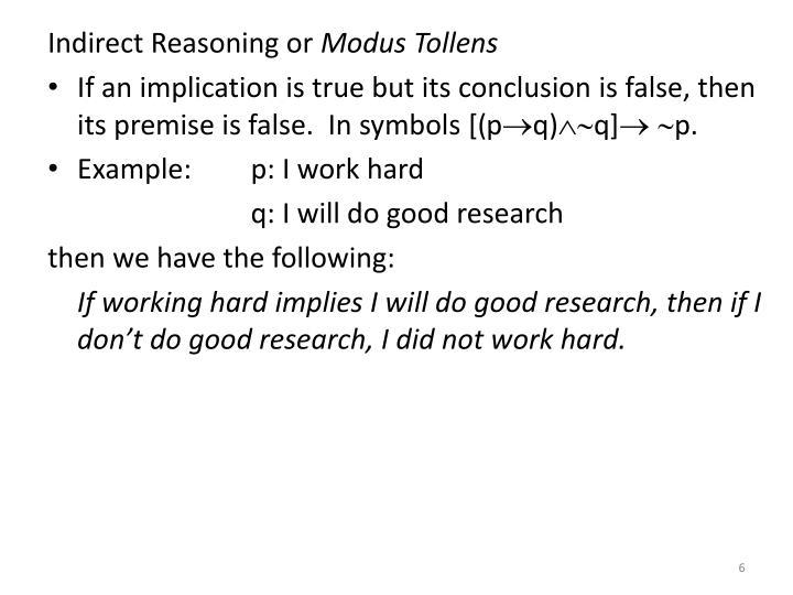 Indirect Reasoning or