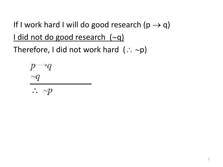 If I work hard I will do good research (p  q)