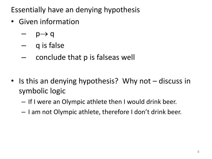 Essentially have an denying hypothesis
