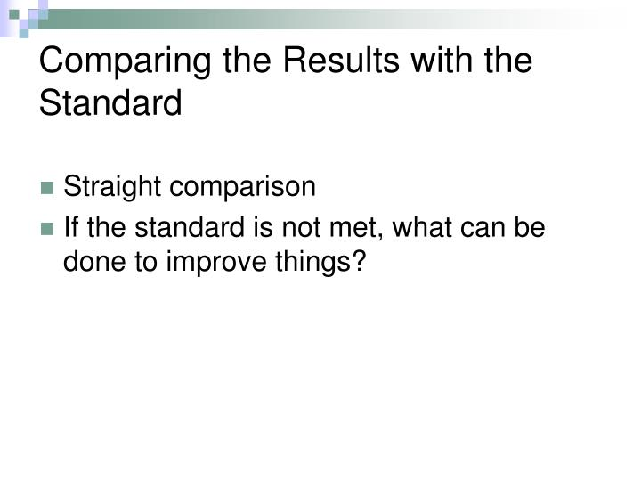 Comparing the Results with the Standard