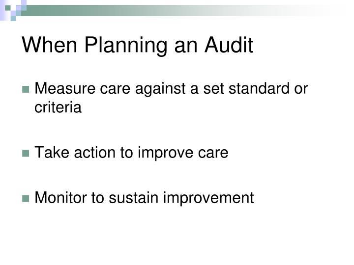 When Planning an Audit