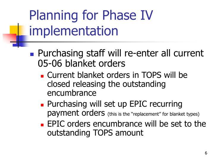 Planning for Phase IV implementation