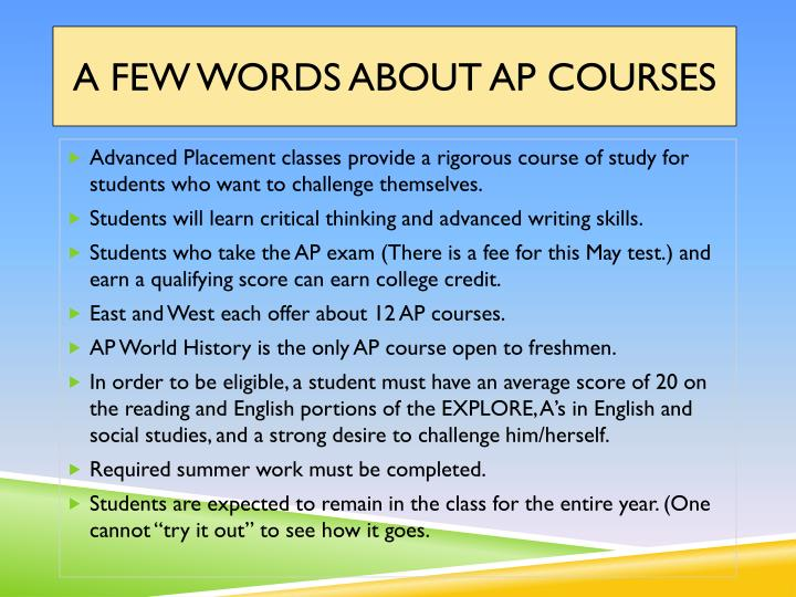 A Few Words About AP Courses