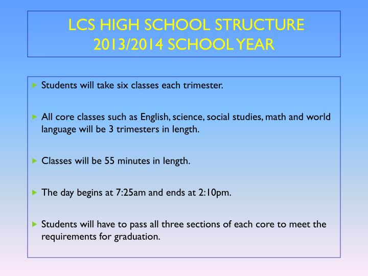 LCS HIGH SCHOOL STRUCTURE 2013/2014 SCHOOL YEAR