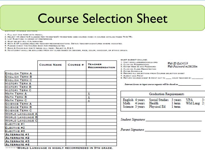 Course Selection Sheet