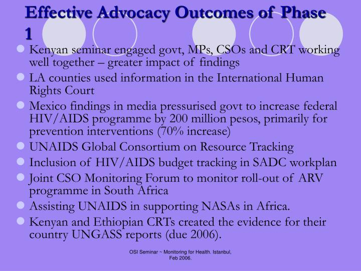 Effective Advocacy Outcomes of Phase 1
