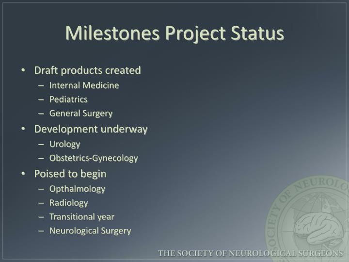 Milestones Project Status