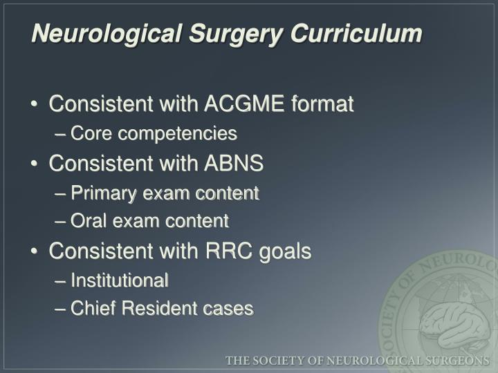 Neurological Surgery Curriculum