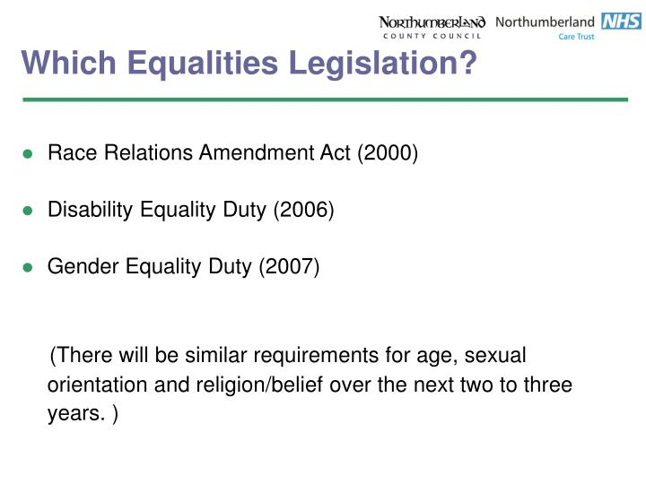 Which Equalities Legislation?