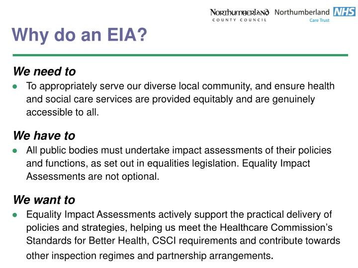 Why do an EIA?