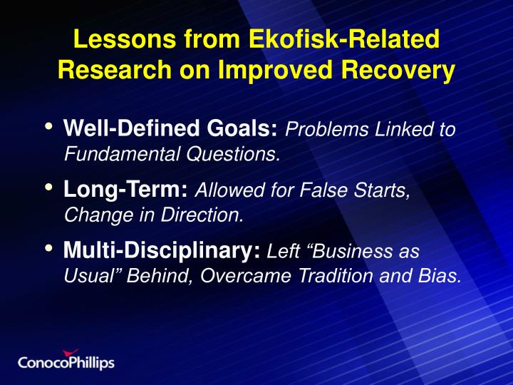Lessons from Ekofisk-Related Research on Improved Recovery