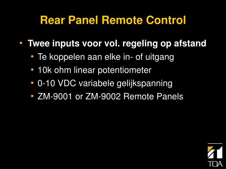 Rear Panel Remote Control