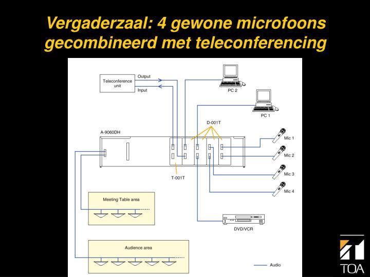 Vergaderzaal: 4 gewone microfoons gecombineerd met teleconferencing