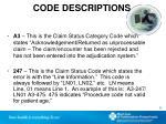 code descriptions