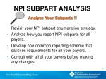 npi subpart analysis