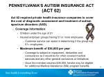pennsylvania s autism insurance act act 62