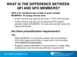 what is the difference between qfi and qfo members1