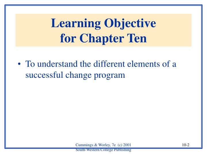 Learning objective for chapter ten