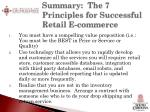 summary the 7 principles for successful retail e commerce