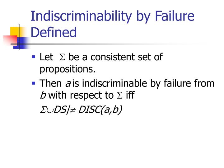 Indiscriminability by Failure Defined