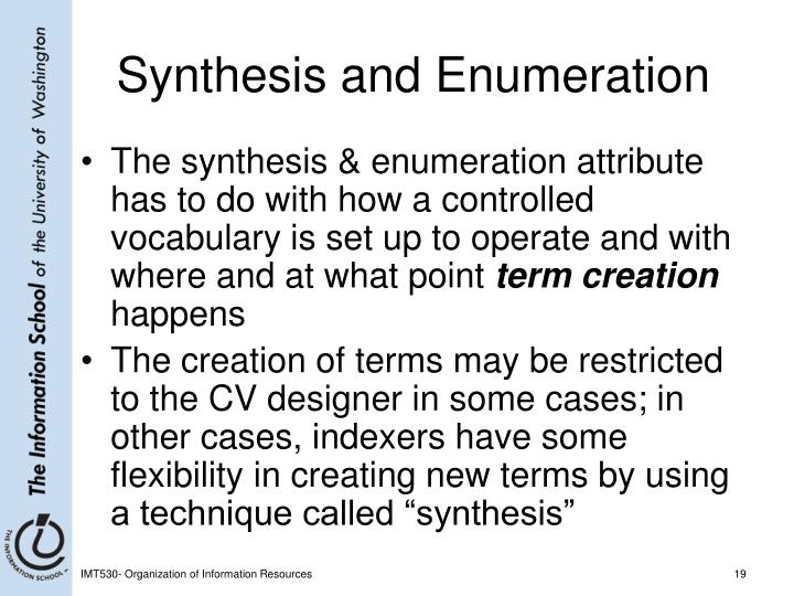 Synthesis and Enumeration