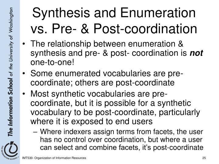 Synthesis and Enumeration vs. Pre- & Post-coordination