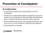 prevention of constipation