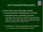 iii procyclical fiscal policy