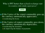why is ppt better than a fixed exchange rate for countries with volatile export prices