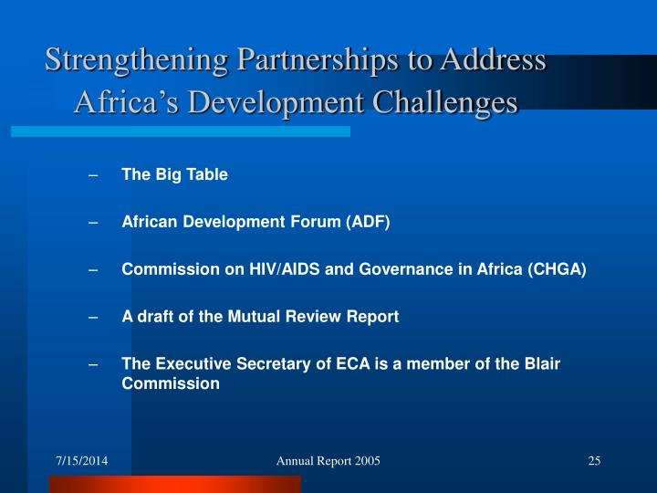 Strengthening Partnerships to Address Africa's Development Challenges