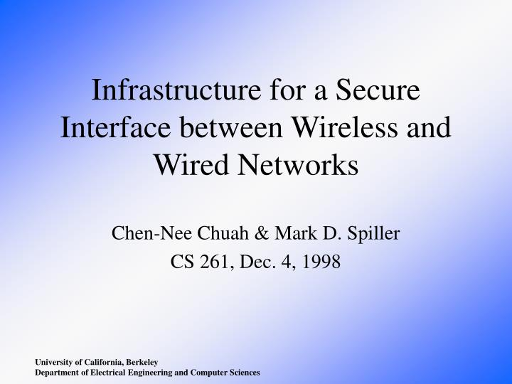 infrastructure for a secure interface between wireless and wired networks n.