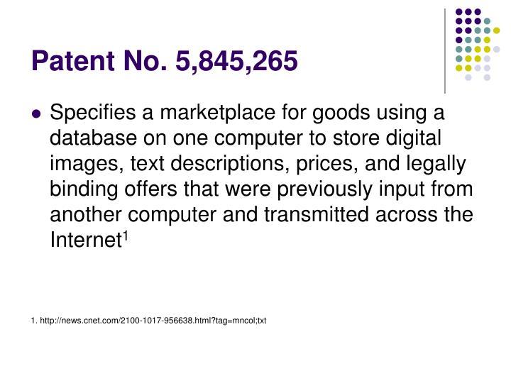 Patent No. 5,845,265