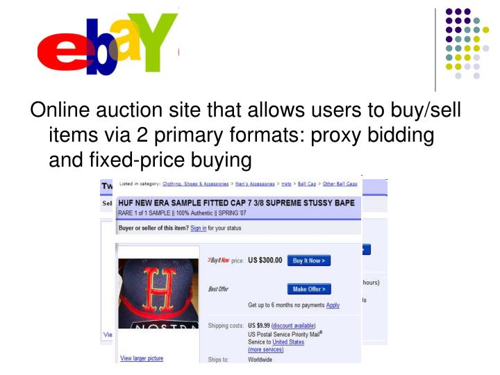 Online auction site that allows users to buy/sell items via 2 primary formats: proxy bidding and fix...