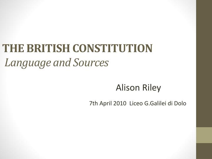 the british constitution language and sources n.