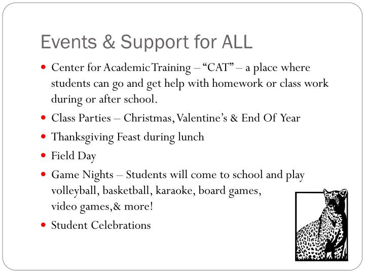 Events & Support for ALL