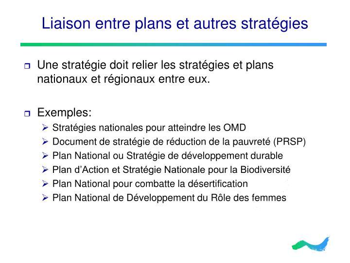 Liaison entre plans et autres stratégies