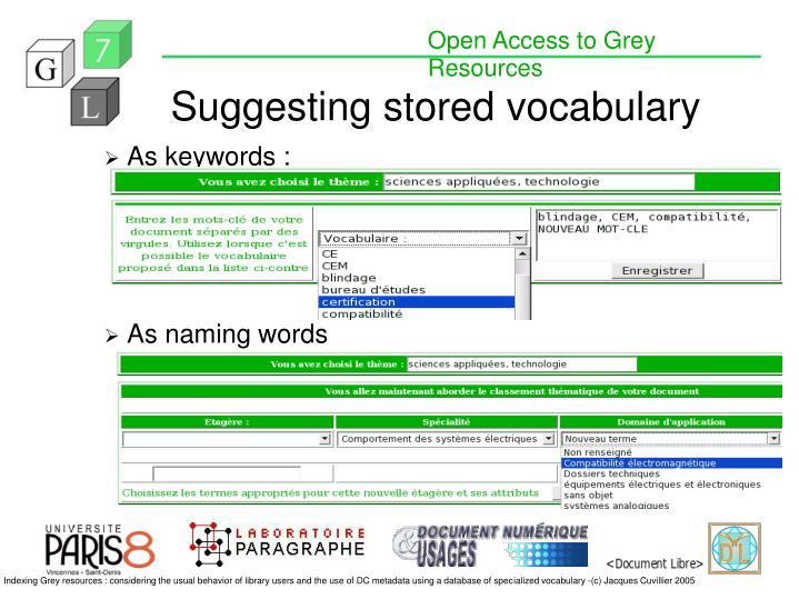 Suggesting stored vocabulary