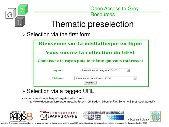 Thematic preselection