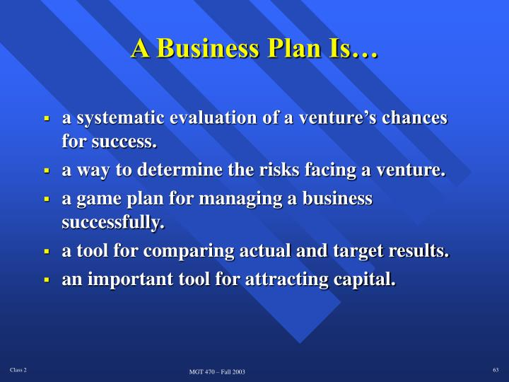 A Business Plan Is…